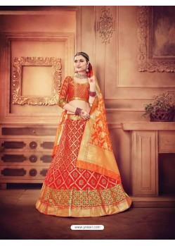 Red Pure Banarasi Silk Lehenga Choli