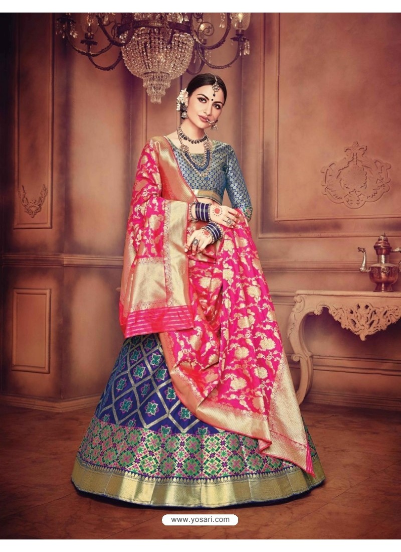 Magical Dark Blue Banarasi Silk Lehenga Choli