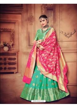 Lustrous Jade Green Banarasi Silk Lehenga Choli