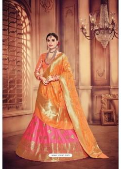 Flawless Light Pink Banarasi Silk Lehenga Choli