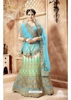 Turquoise Nylon Satin Embroidered Lehenga Choli