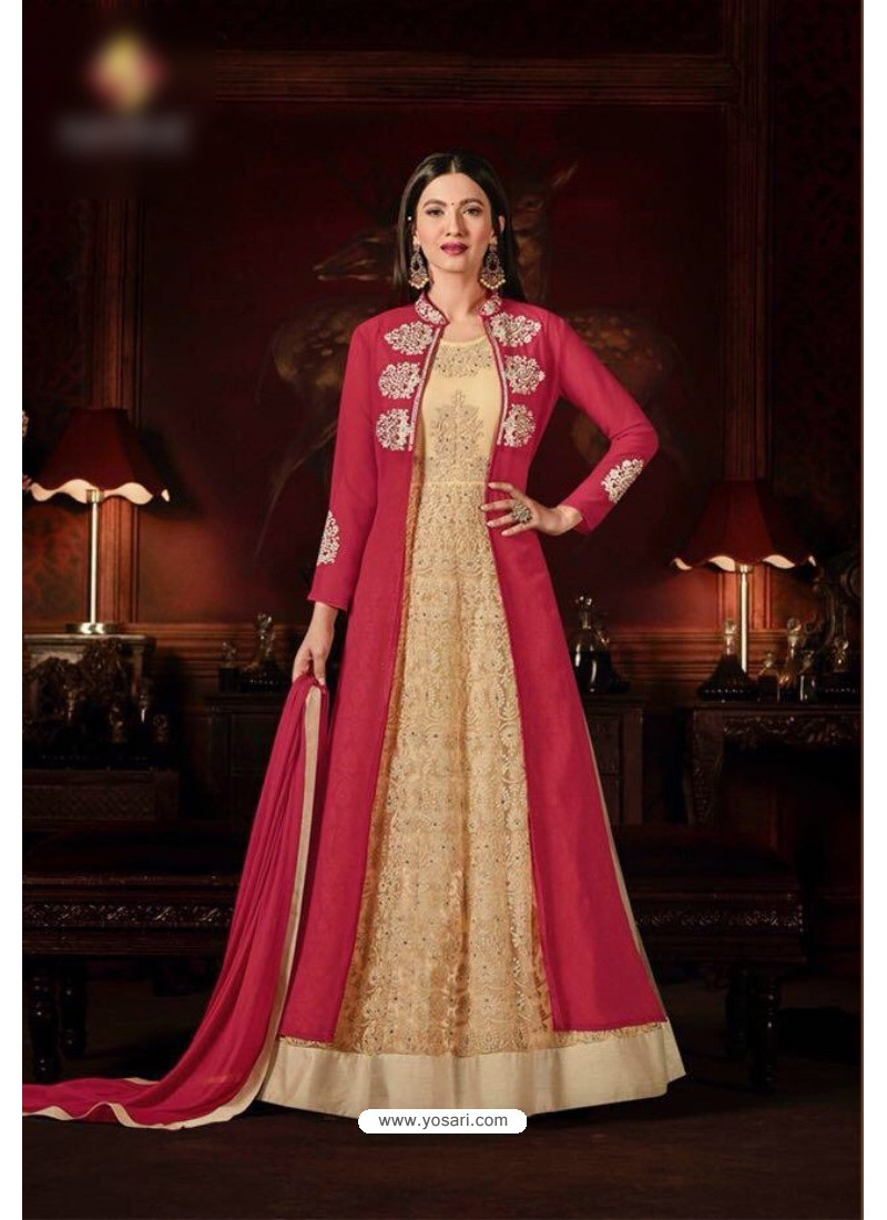 Gauhar Khan Peach Faux Georgette Floor Length Suit