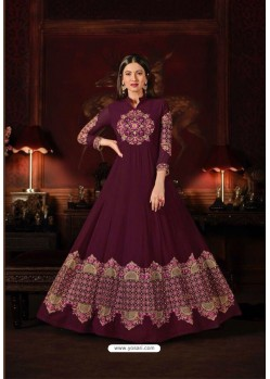 Gauhar Khan Wine Faux Georgette Floor Length Suit
