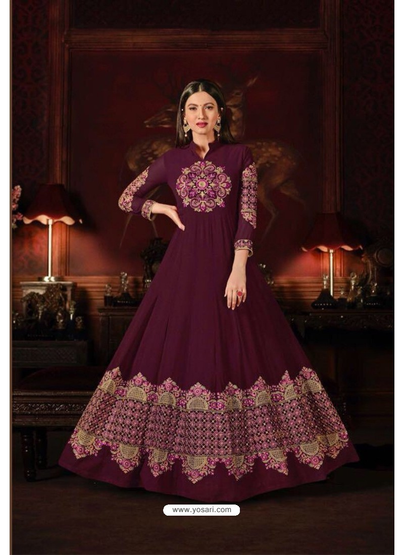 Gauhar Khan Wine Faux Georgette Floor Length Suit