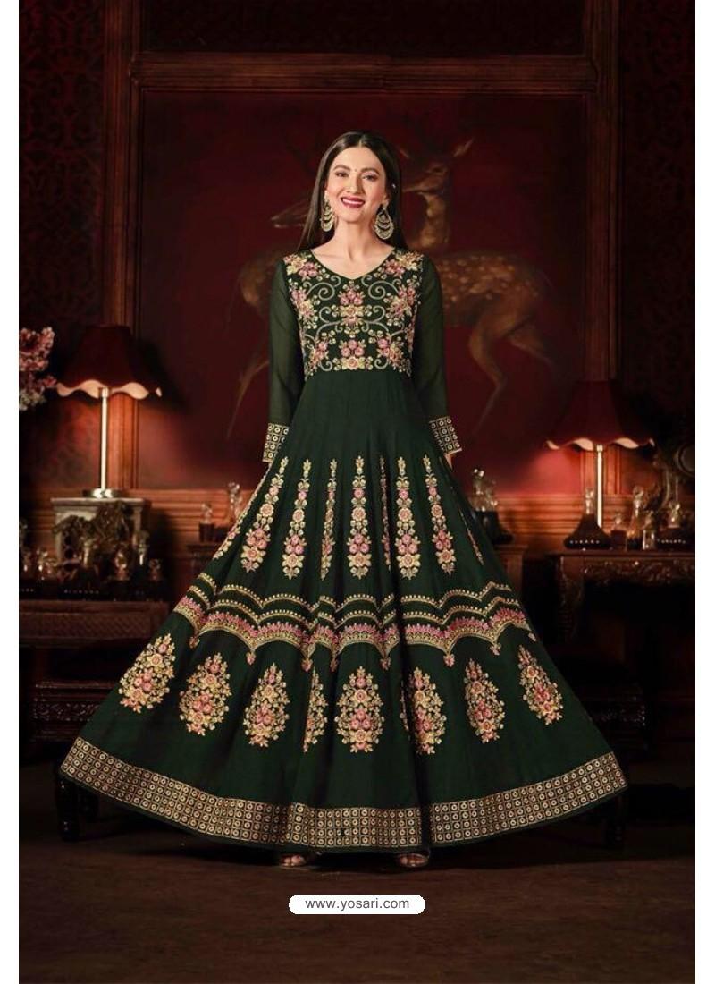 Gauhar Khan Green Faux Georgette Floor Length Suit