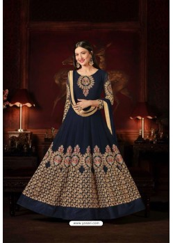 Gauhar Khan Navy Blue Faux Georgette Floor Length Suit