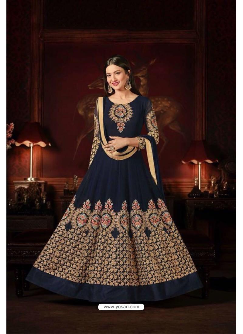 Gauhar Khan Navy Blue Faux Georgette Floor Length Suit