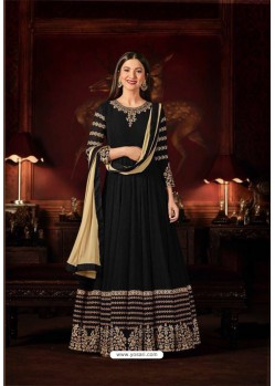 Gauhar Khan Black Faux Georgette Floor Length Suit