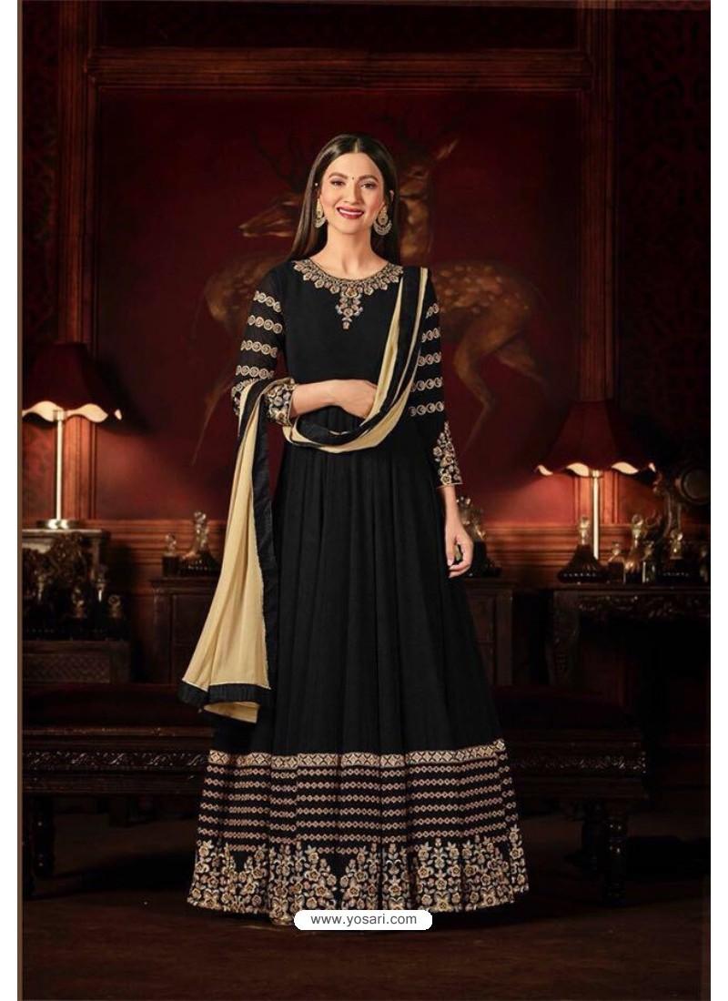 Gauhar Khan Black Faux Georgette Floor Length Suit