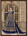 Navy Blue Banglori Silk Embroidered Floor Length Suit