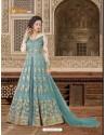 Tealblue Banglori Silk Embroidered Floor Length Suit