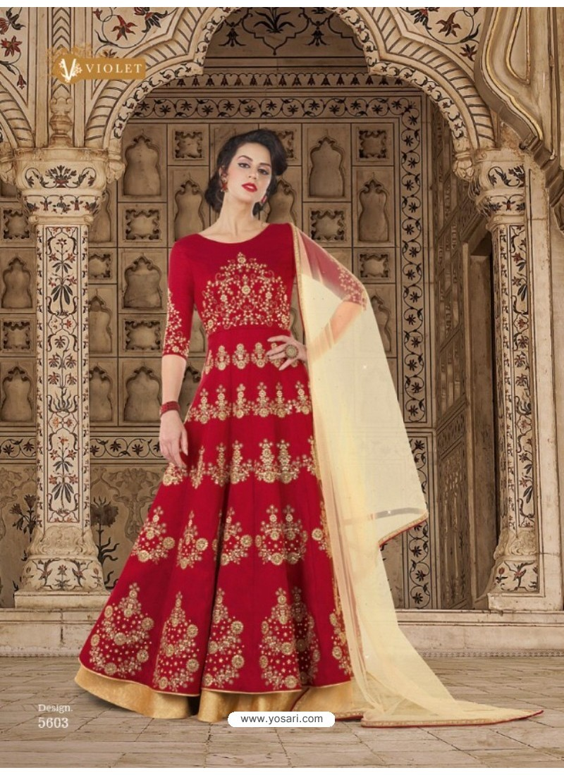Wine Mulberry Silk Embroidered Floor Length Suit