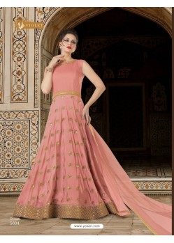 Baby Pink Sana Silk Embroidered Floor Length Suit