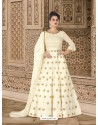 Off White Embroidered Floor Length Suit