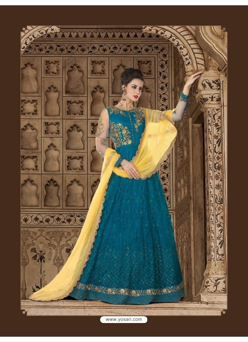 Tealblue Net Embroidered Floor Length Suit