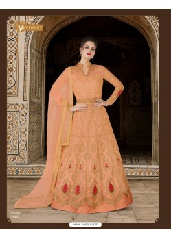 Light Orange Embroidered Floor Length Suit