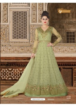 Olive Green Embroidered Floor Length Suit