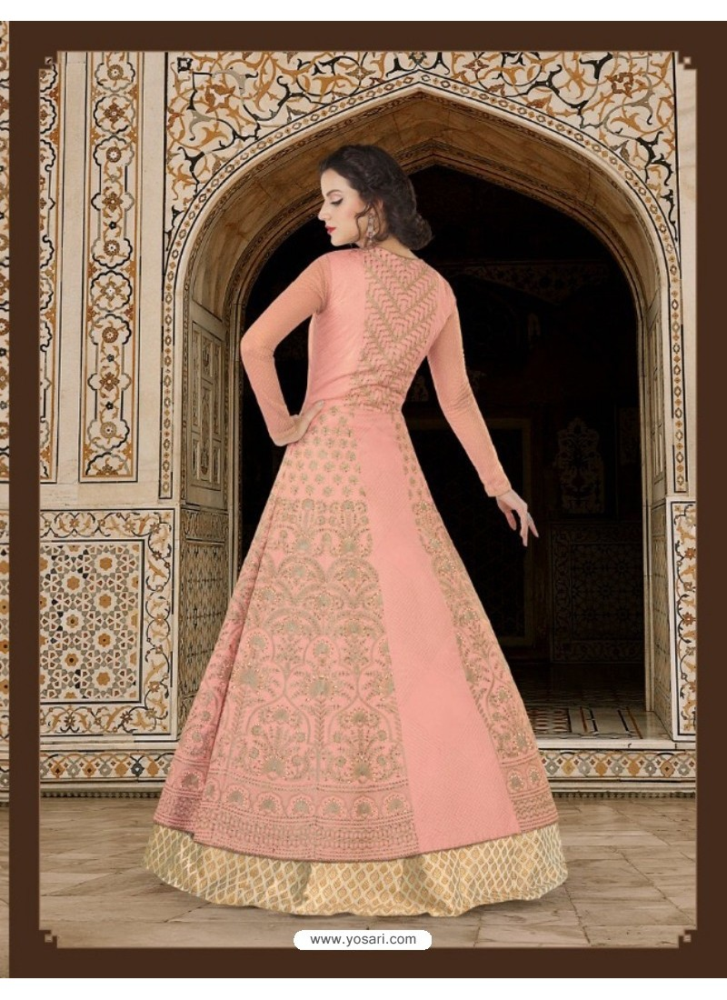 Baby Pink Embroidered Floor Length Suit