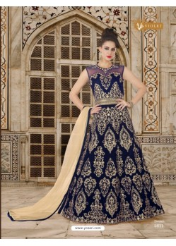 Navy Blue Velvet Embroidered Floor Length Suit