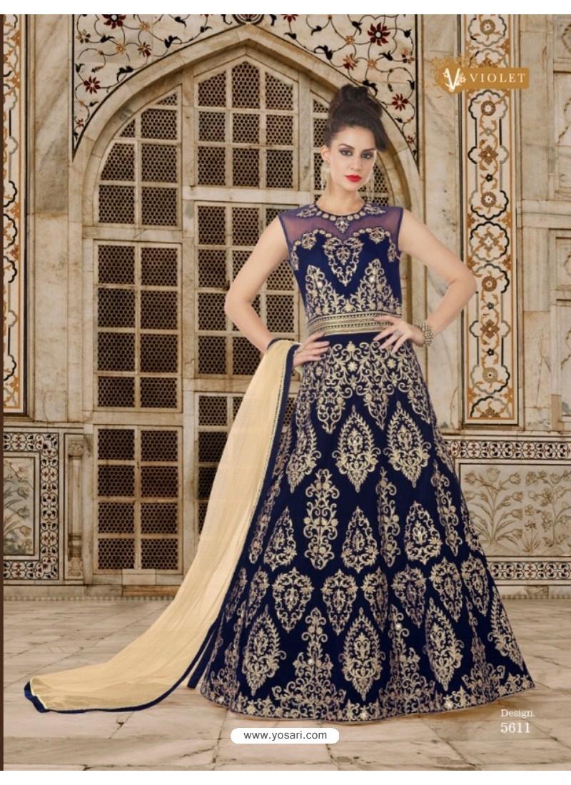 Navy Blue Velvet Embroidered Floor Length Suit