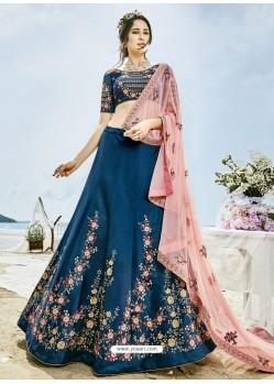 Peacock Blue Silk Embroidered Lehenga Choli