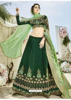 Dark Green Silk Embroidered Lehenga Choli