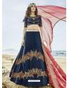 Navy Blue Silk Embroidered Lehenga Choli