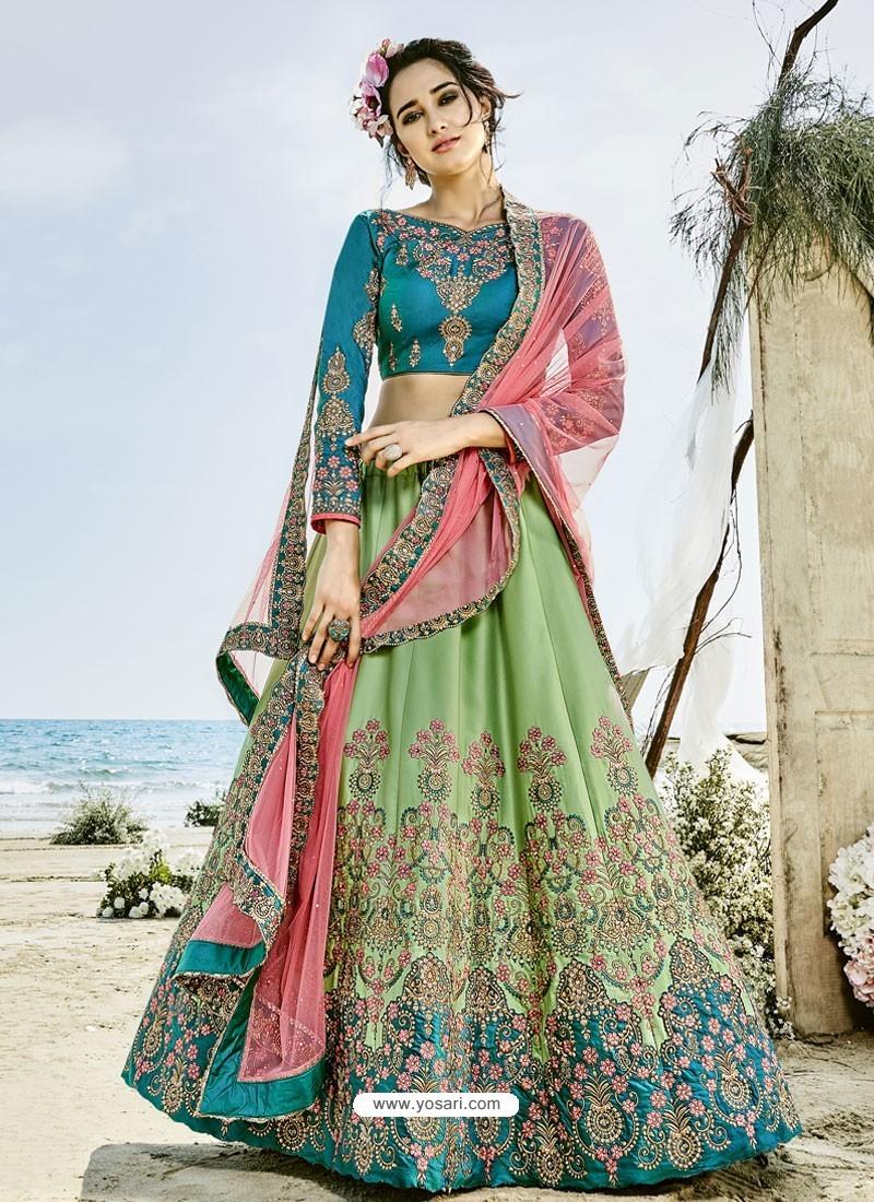Sea Green Silk Embroidered Lehenga Choli