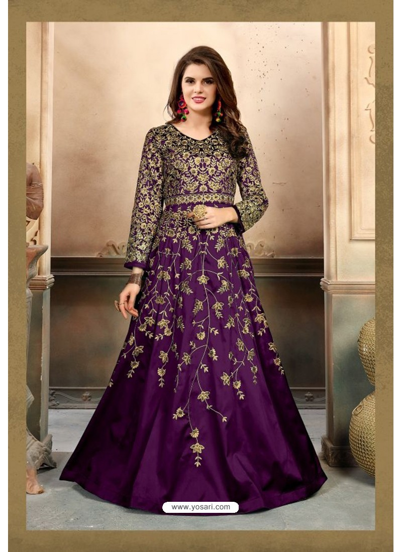 Purple Silk Embroidered Floor Length Suit