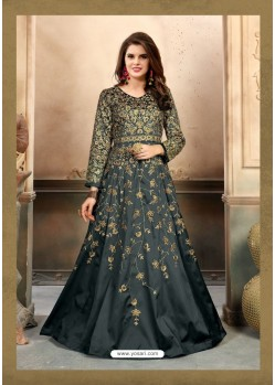 Carbon Silk Embroidered Floor Length Suit