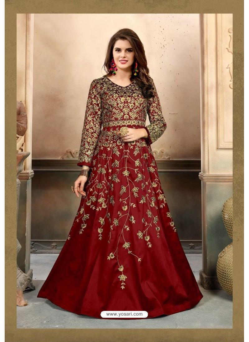 Maroon Silk Embroidered Floor Length Suit