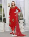 Beautiful Red Cotton Embroidered Suit