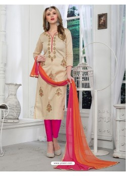 Light Beige Cotton Embroidered Suit