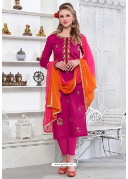 Hot Rani Cotton Embroidered Suit