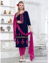 Navy Blue Cotton Embroidered Suit