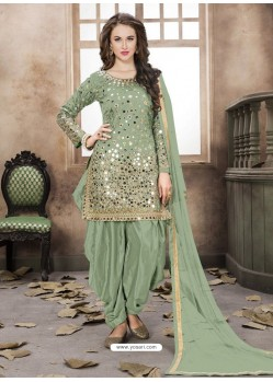 Mehendi Silk Mirror Work Suit