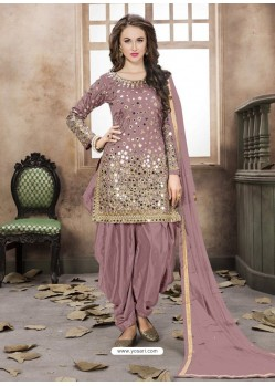 Deep Wine Silk Mirror Work Suit