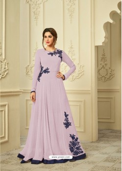 Mauve Georgette Embroidered Gown