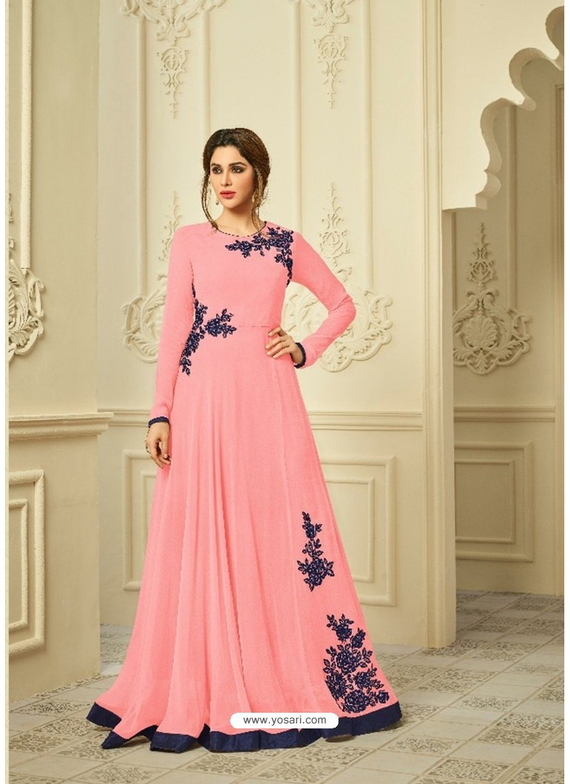 Peach Georgette Embroidered Gown