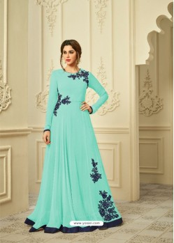 Jade Green Georgette Embroidered Gown