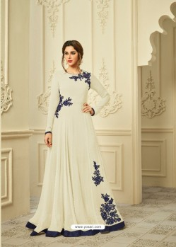 Cream Georgette Embroidered Gown