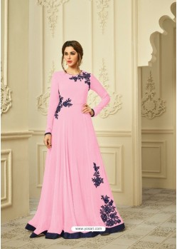 Pink Georgette Embroidered Gown