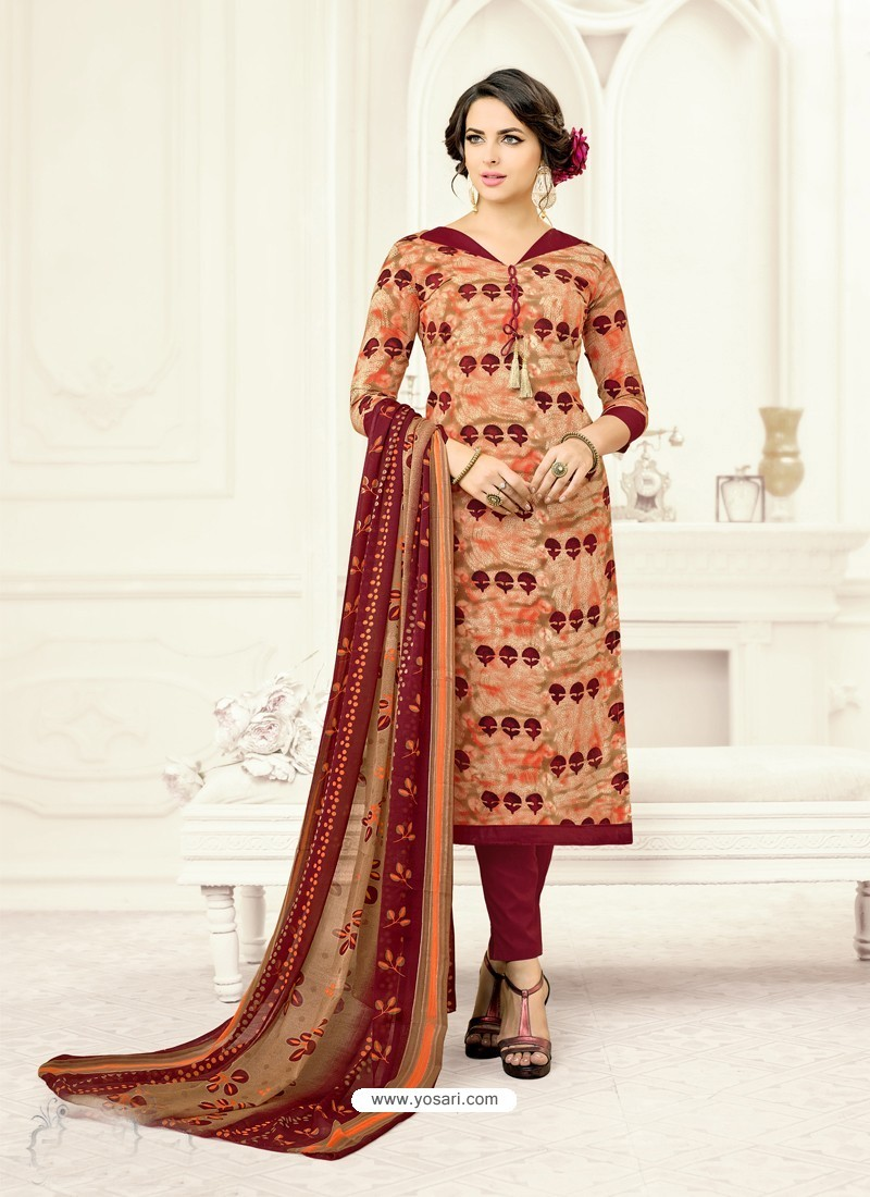 Maroon Poly Cotton Printed Suit