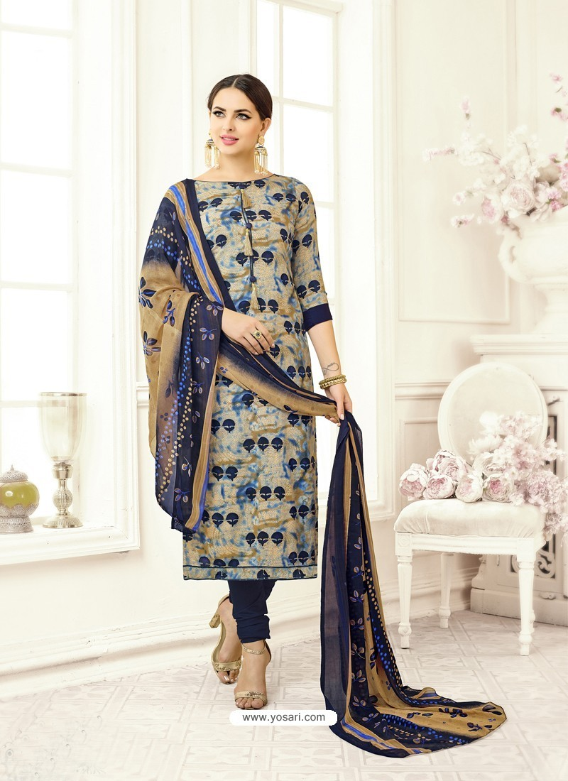 Navy Blue Poly Cotton Printed Suit