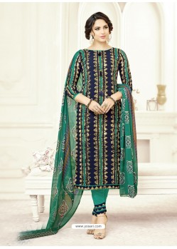 Teal Poly Cotton Printed Suit