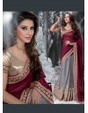 Maroon And Grey Embroidered Work Designer Saree