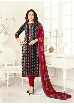 Wine Poly Cotton Printed Suit