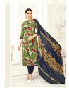 Green Poly Cotton Printed Suit