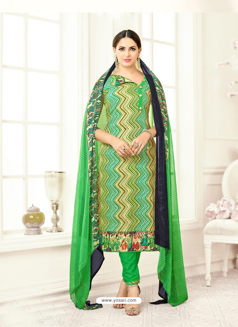 Parrot Green Poly Cotton Printed Suit