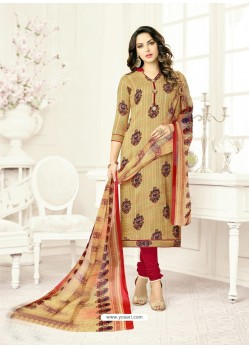 Beige Poly Cotton Printed Suit